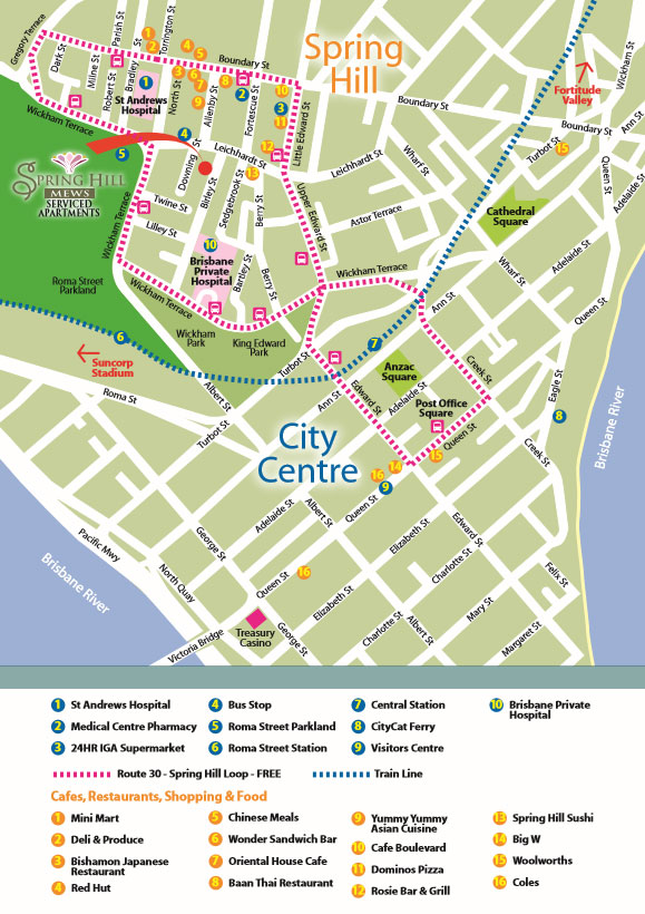 Location Map Spring Hill Mews Spacious Apartments Brisbane City
